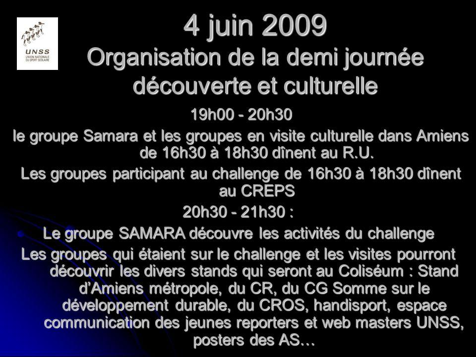 4 juin 2009 Organisation de la demi journée découverte et culturelle