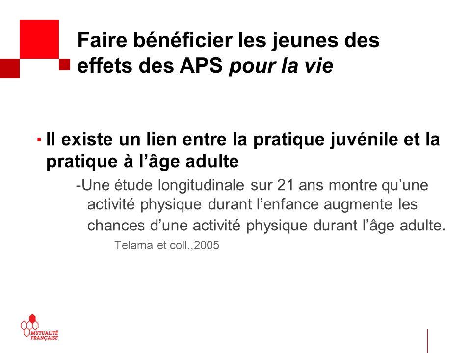  Faire bénéficier les jeunes des effets des APS pour la vie