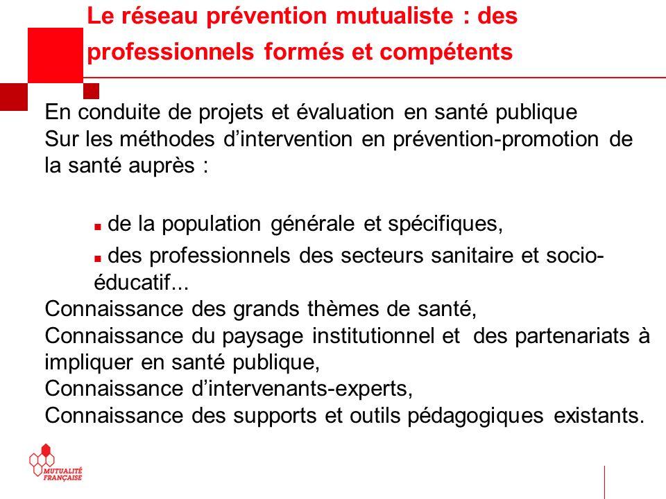 Le réseau prévention mutualiste : des professionnels formés et compétents