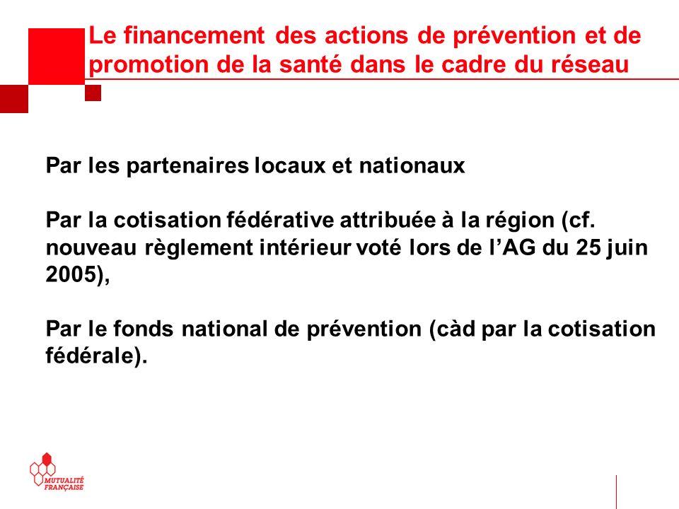 Le financement des actions de prévention et de promotion de la santé dans le cadre du réseau