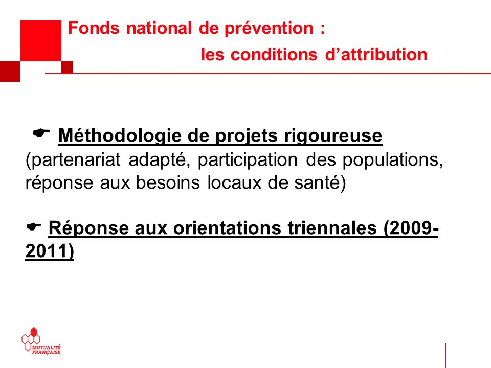Fonds national de prévention : les conditions d'attribution