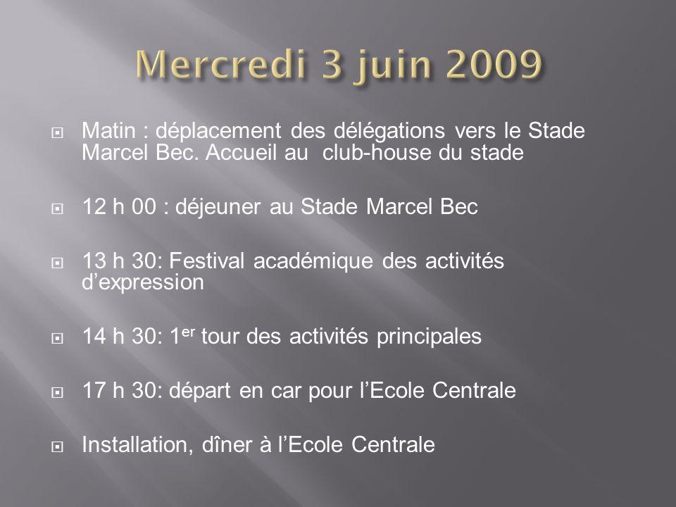 Mercredi 3 juin 2009 Matin : déplacement des délégations vers le Stade Marcel Bec. Accueil au club-house du stade.