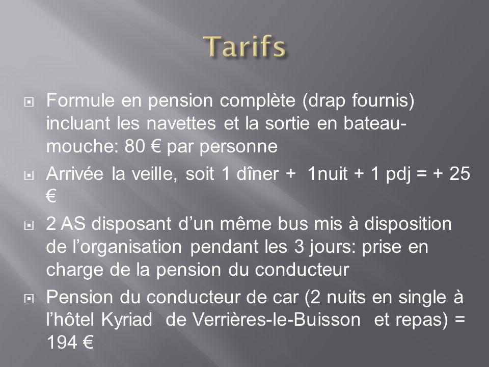 Tarifs Formule en pension complète (drap fournis) incluant les navettes et la sortie en bateau-mouche: 80 € par personne.