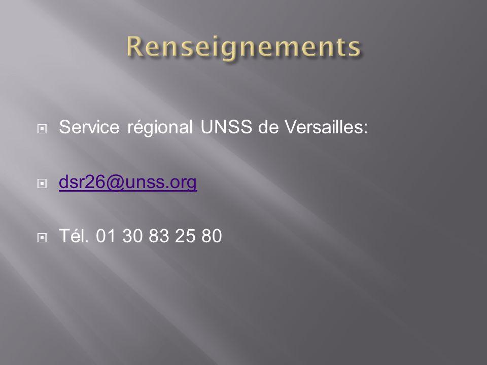 Renseignements Service régional UNSS de Versailles: dsr26@unss.org