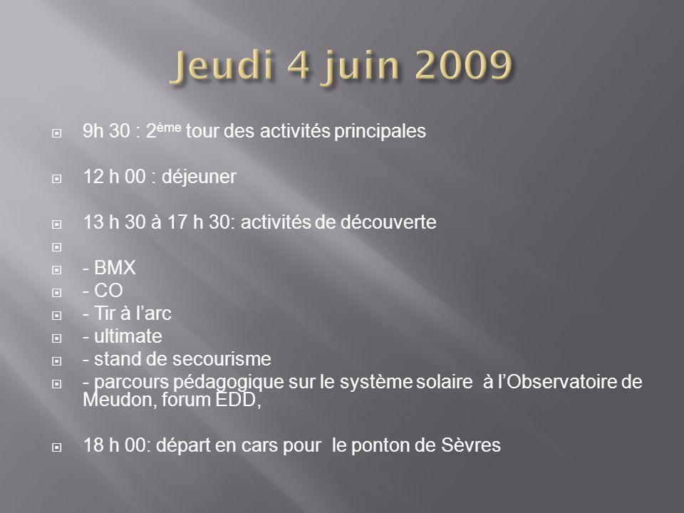 Jeudi 4 juin 2009 9h 30 : 2ème tour des activités principales