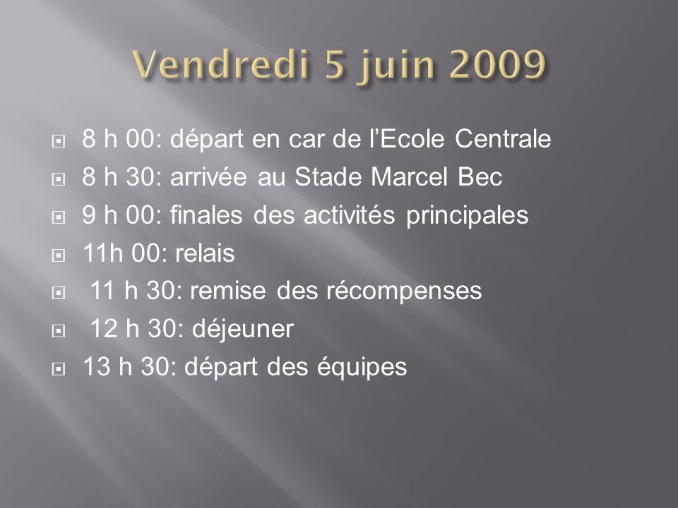 Vendredi 5 juin 2009 8 h 00: départ en car de l'Ecole Centrale