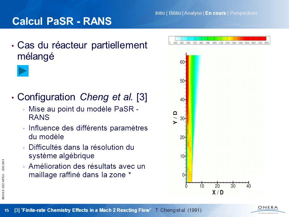 Calcul PaSR - RANS Cas du réacteur partiellement mélangé