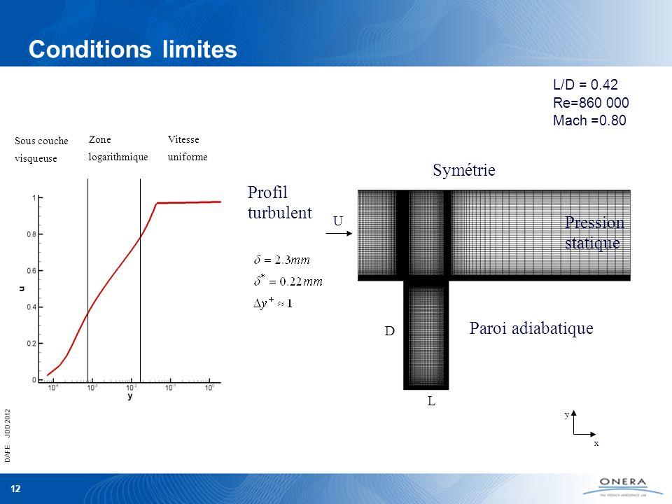 Conditions limites Symétrie Profil turbulent Pression statique