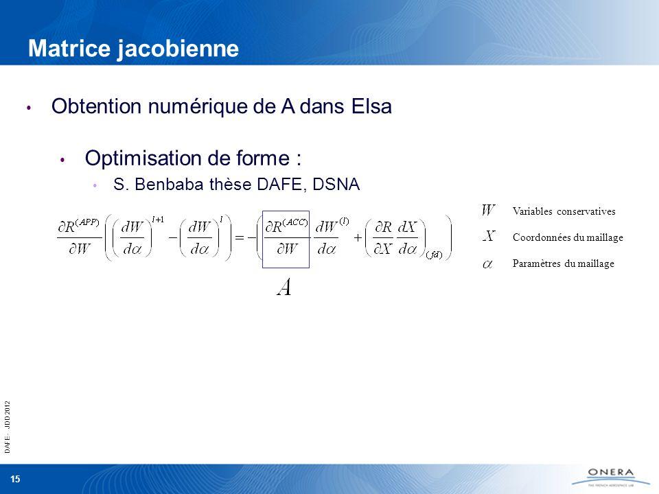 Matrice jacobienne Obtention numérique de A dans Elsa
