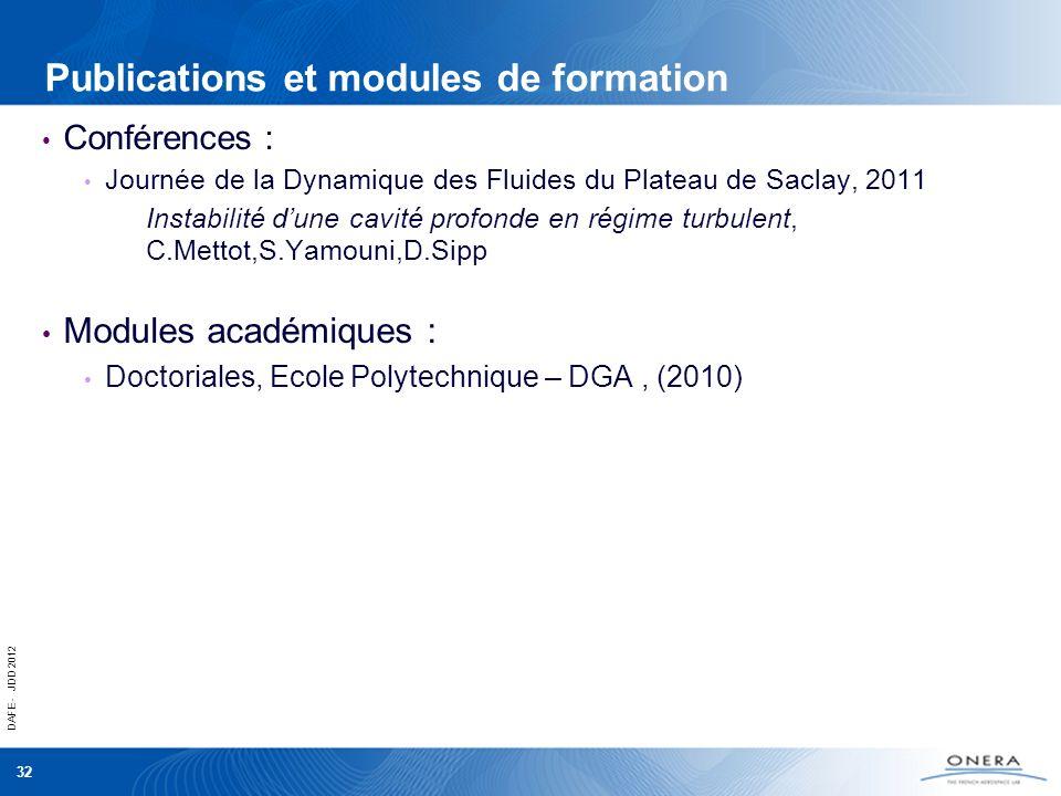 Publications et modules de formation