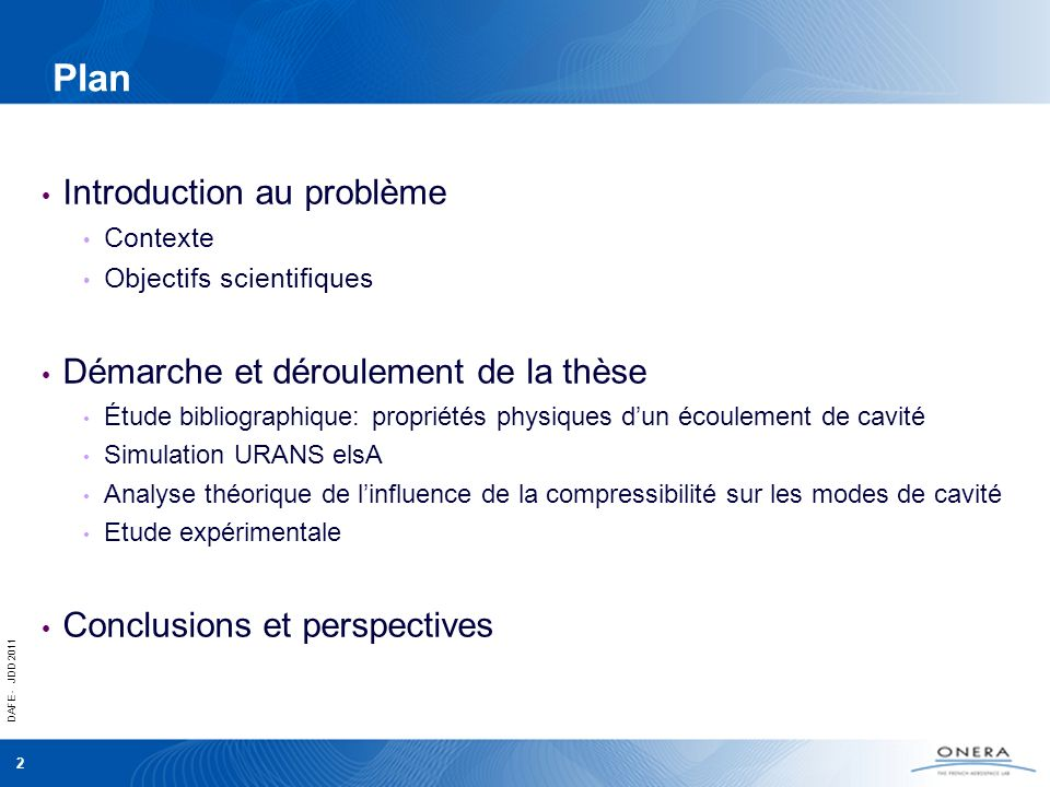 Plan Introduction au problème Démarche et déroulement de la thèse