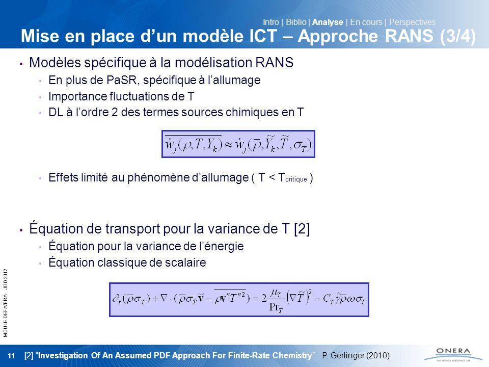 Mise en place d'un modèle ICT – Approche RANS (3/4)