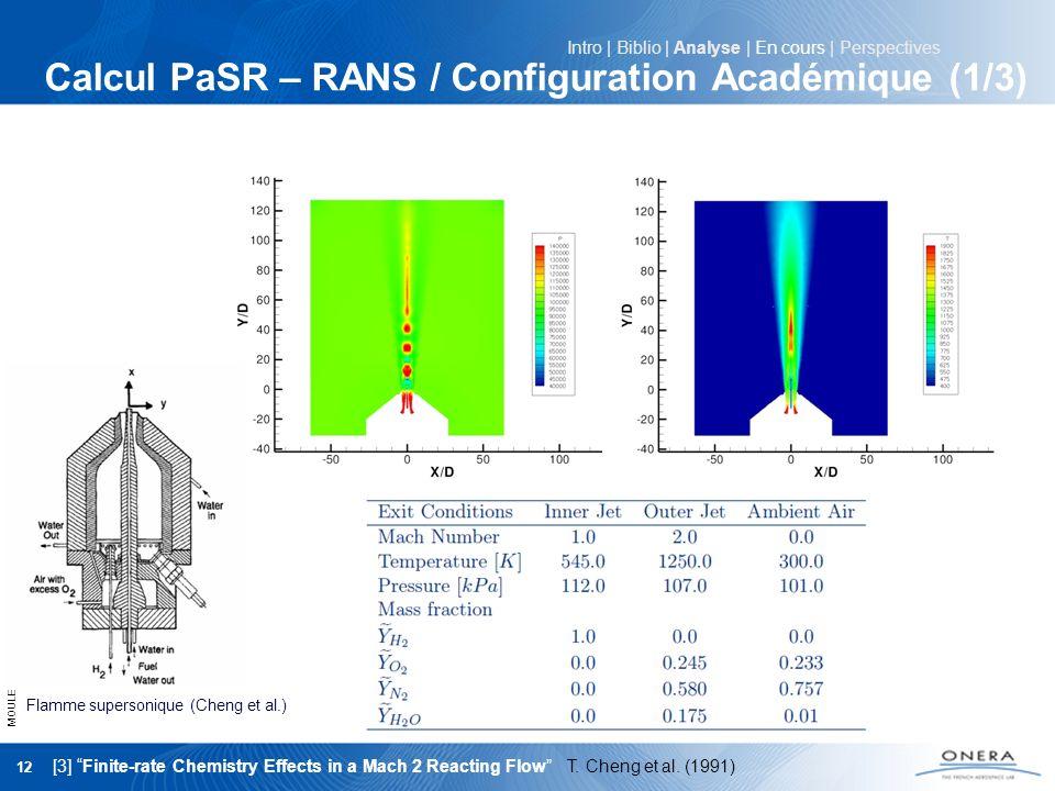 Calcul PaSR – RANS / Configuration Académique (1/3)