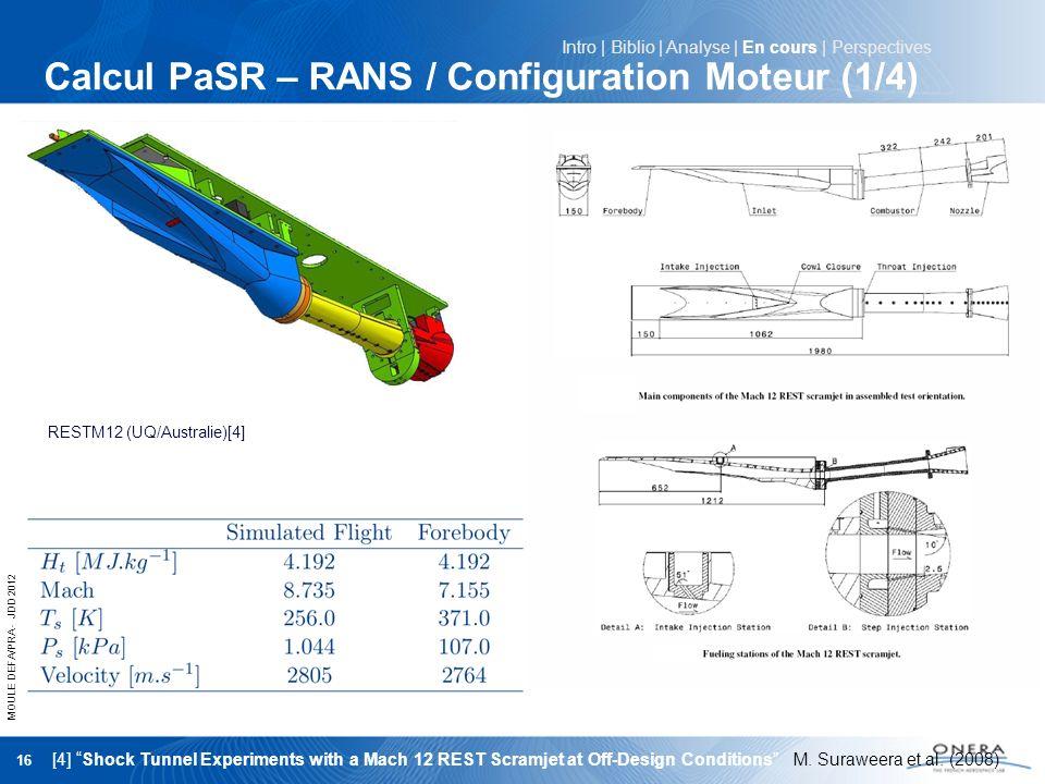 Calcul PaSR – RANS / Configuration Moteur (1/4)