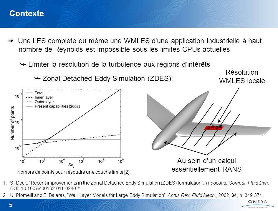 Contexte Une LES complète ou même une WMLES d'une application industrielle à haut nombre de Reynolds est impossible sous les limites CPUs actuelles.