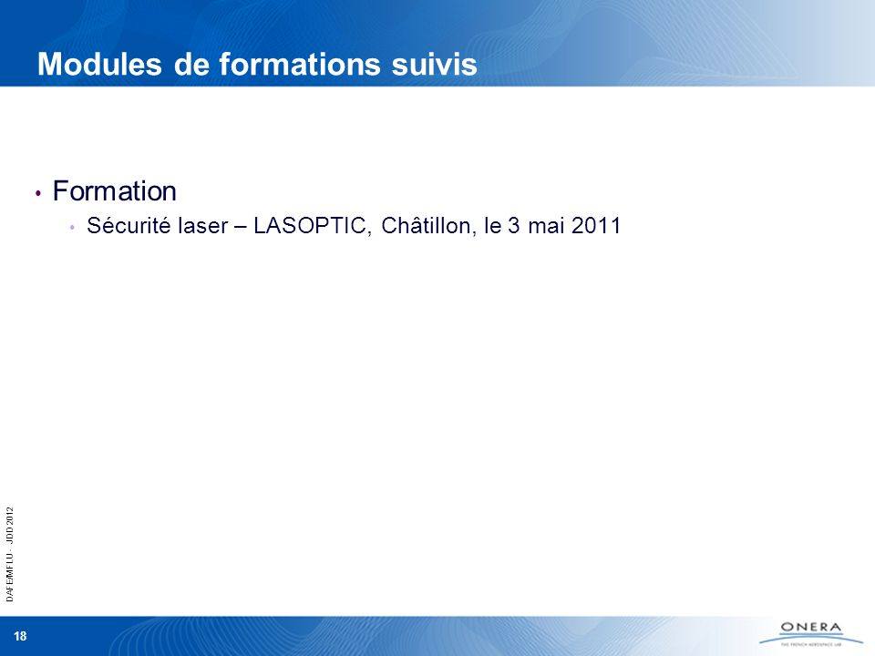 Modules de formations suivis