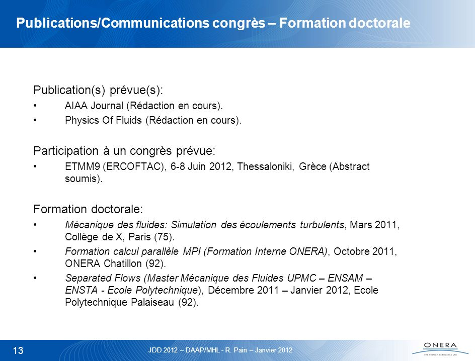 Publications/Communications congrès – Formation doctorale