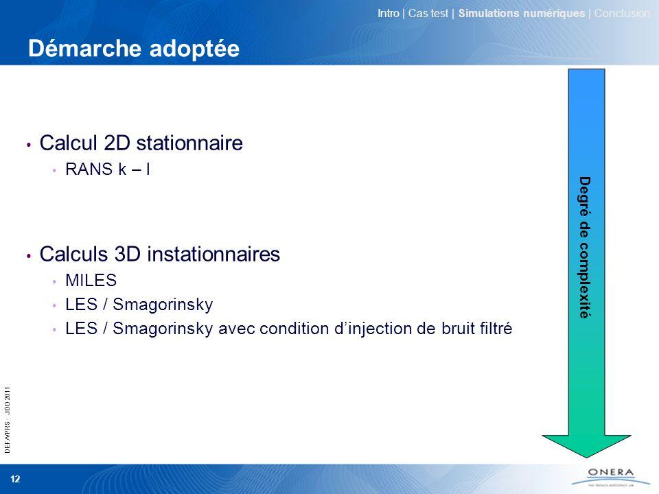 Démarche adoptée Calcul 2D stationnaire Calculs 3D instationnaires