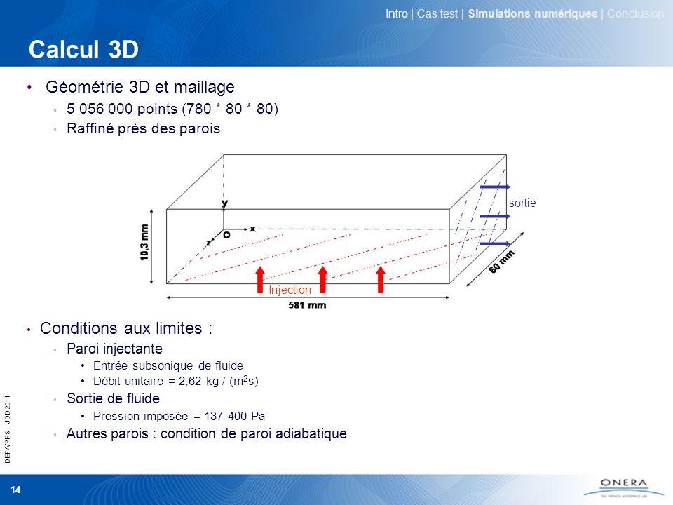 Calcul 3D Géométrie 3D et maillage Conditions aux limites :