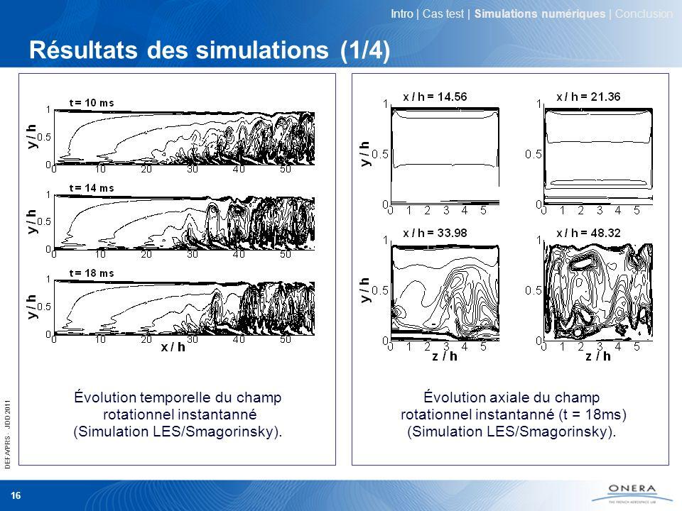 Résultats des simulations (1/4)
