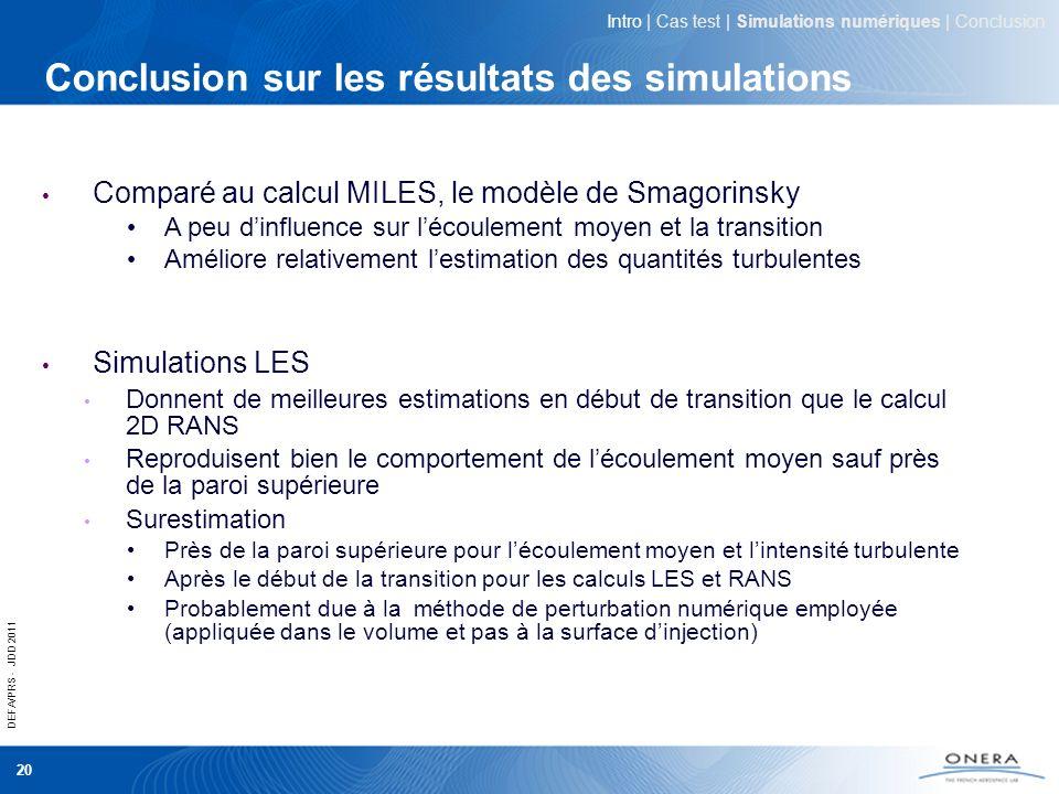 Conclusion sur les résultats des simulations