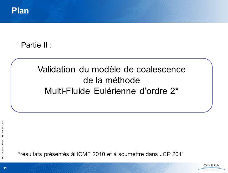 Plan Partie II : Validation du modèle de coalescence de la méthode Multi-Fluide Eulérienne d'ordre 2*