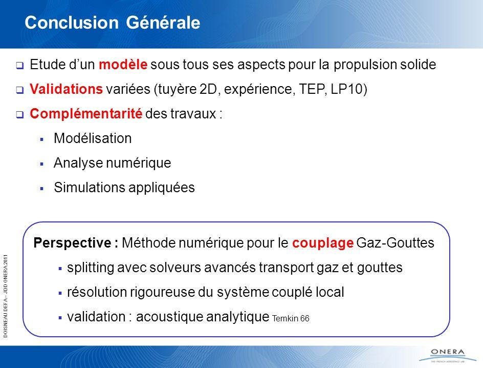 Conclusion Générale Etude d'un modèle sous tous ses aspects pour la propulsion solide. Validations variées (tuyère 2D, expérience, TEP, LP10)