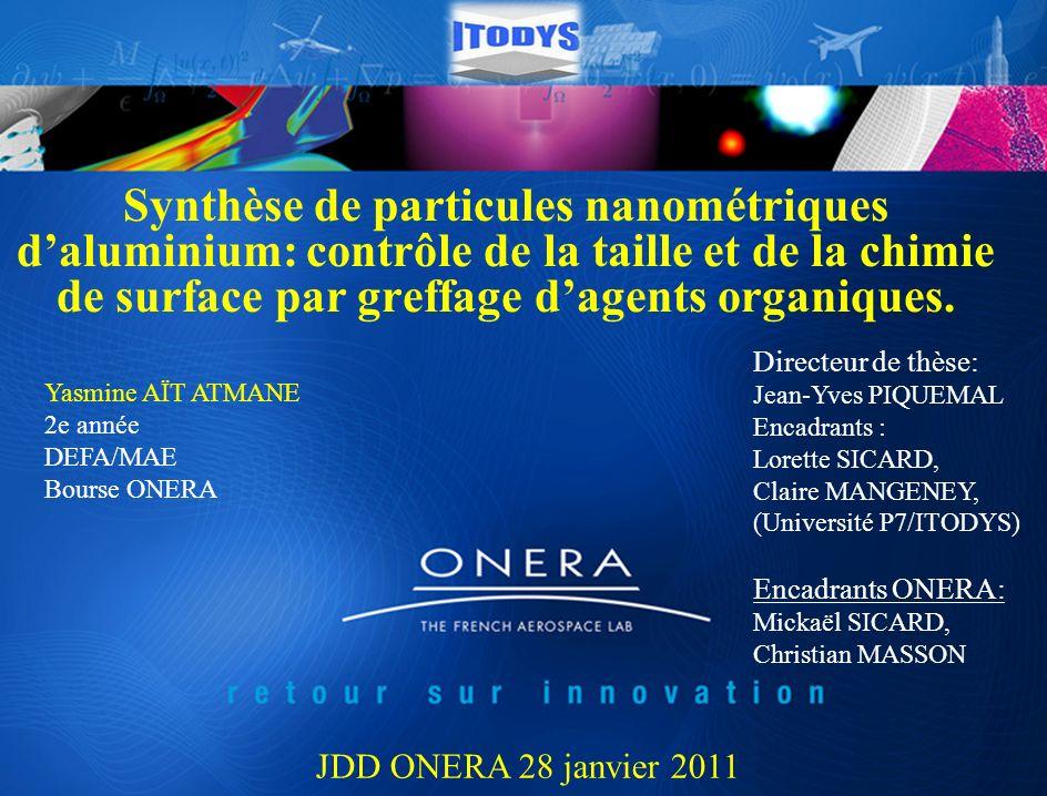 Synthèse de particules nanométriques d'aluminium: contrôle de la taille et de la chimie de surface par greffage d'agents organiques.
