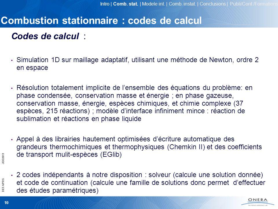 Combustion stationnaire : codes de calcul