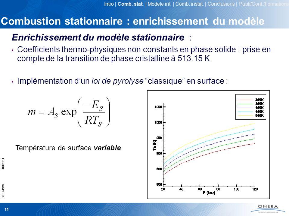 Combustion stationnaire : enrichissement du modèle