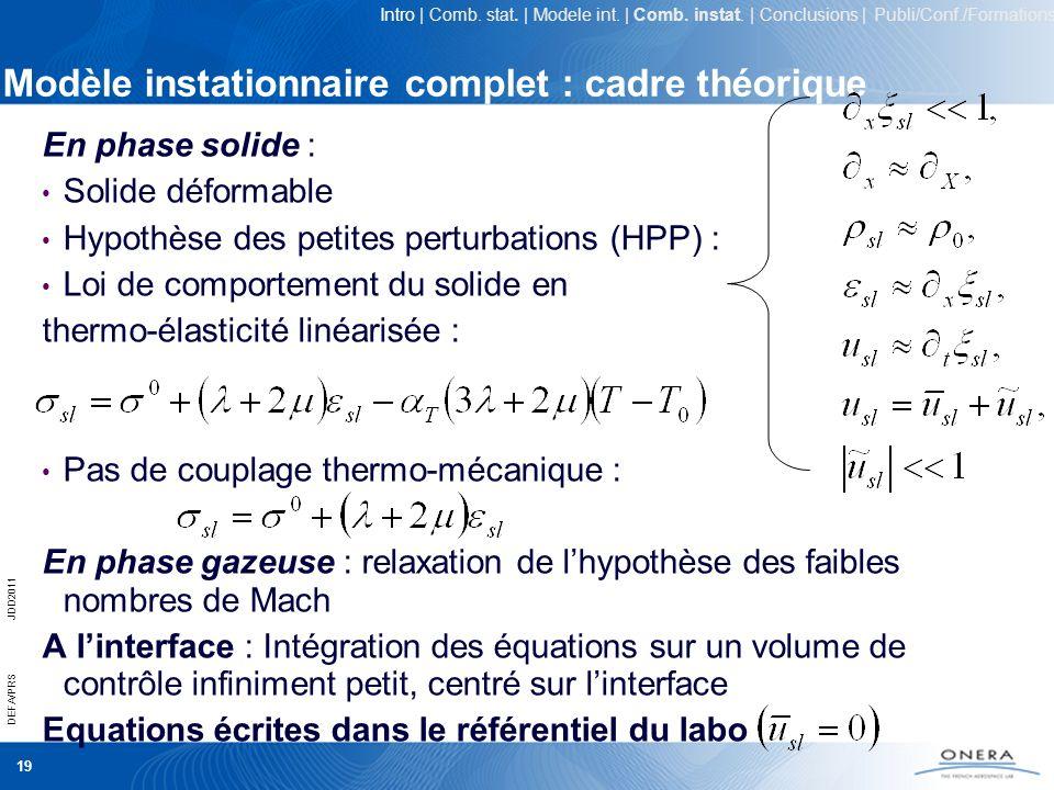Modèle instationnaire complet : cadre théorique