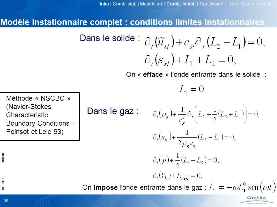Modèle instationnaire complet : conditions limites instationnaires