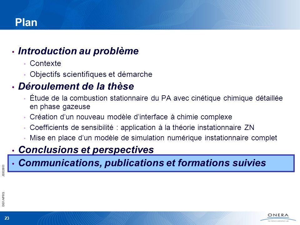 Plan Introduction au problème Déroulement de la thèse