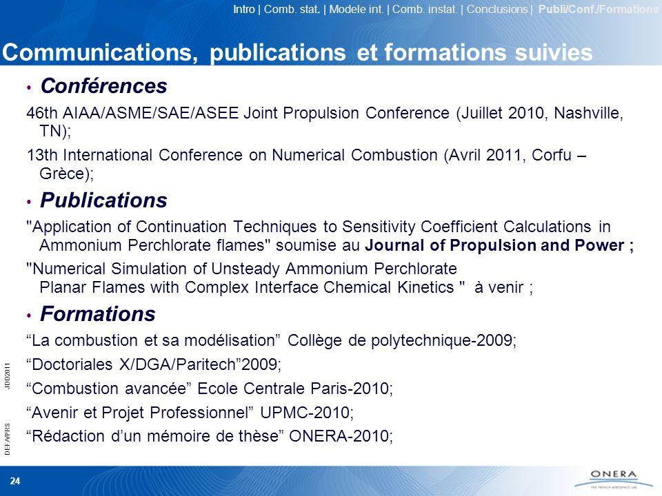 Communications, publications et formations suivies