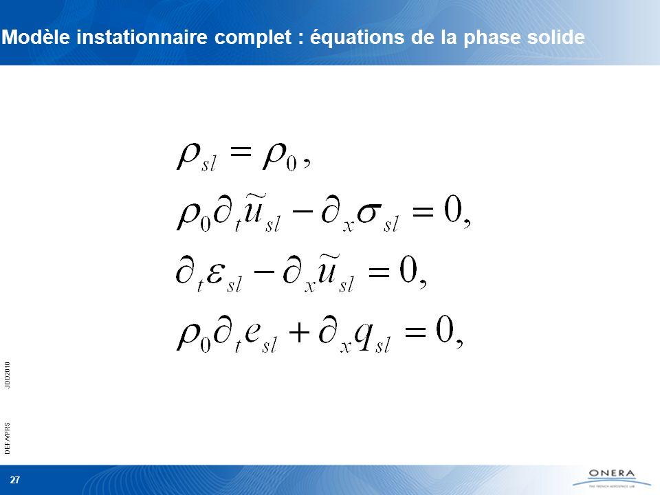 Modèle instationnaire complet : équations de la phase solide