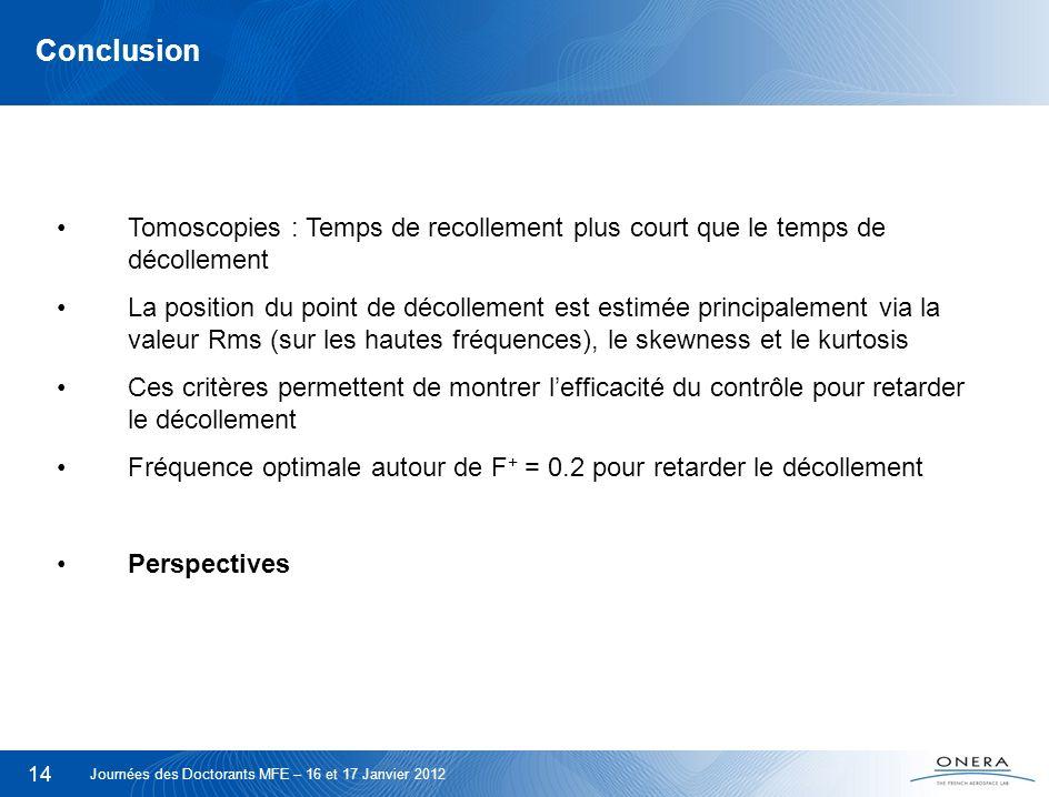 Conclusion Tomoscopies : Temps de recollement plus court que le temps de décollement.