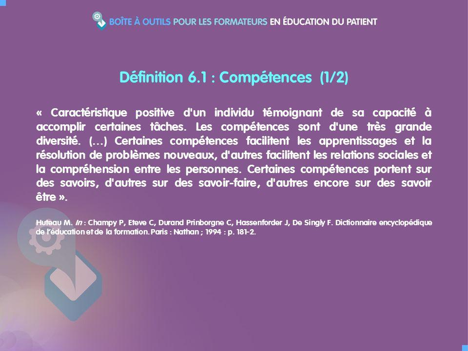 Définition 6.1 : Compétences (1/2)