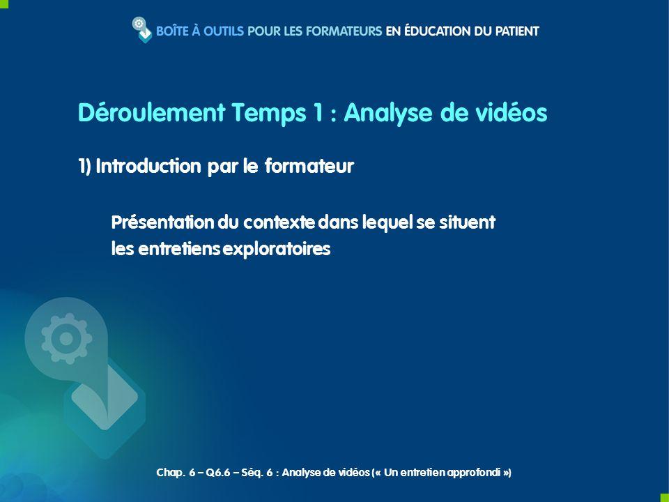 Déroulement Temps 1 : Analyse de vidéos