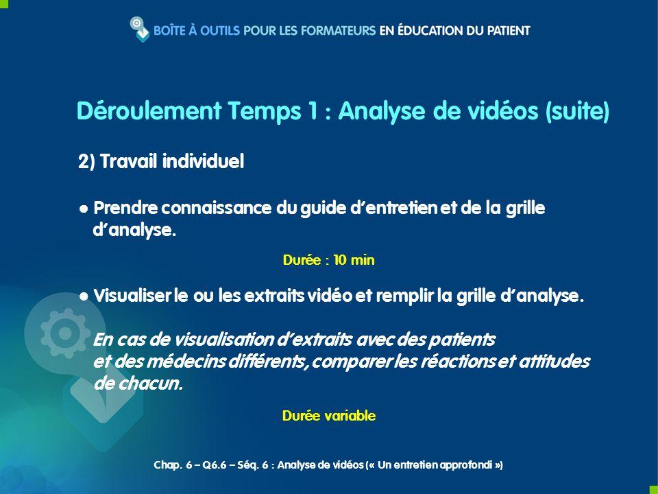 Déroulement Temps 1 : Analyse de vidéos (suite)
