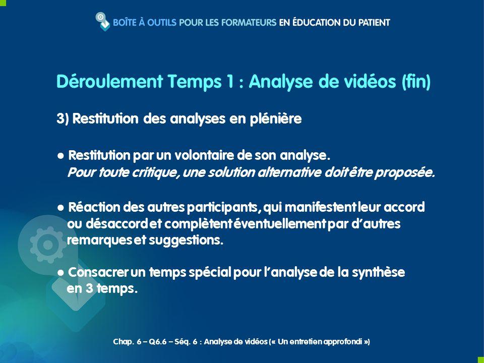 Déroulement Temps 1 : Analyse de vidéos (fin)