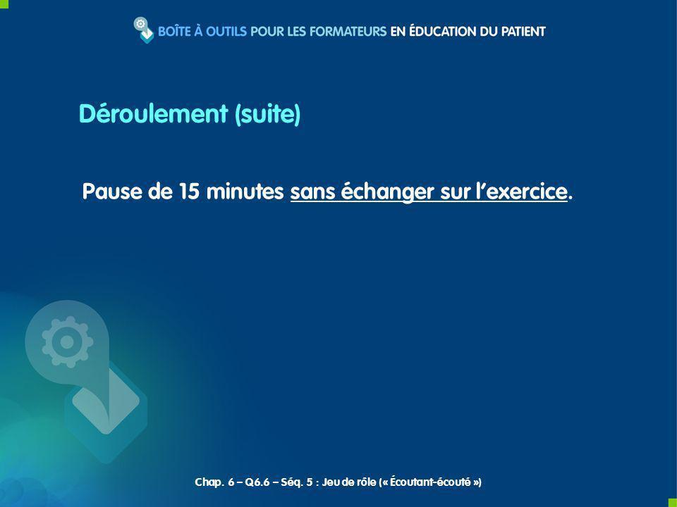 Déroulement (suite) Pause de 15 minutes sans échanger sur l'exercice.