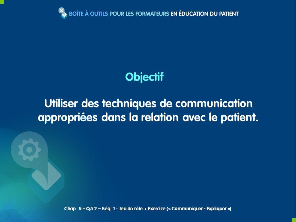 ObjectifUtiliser des techniques de communication appropriées dans la relation avec le patient.