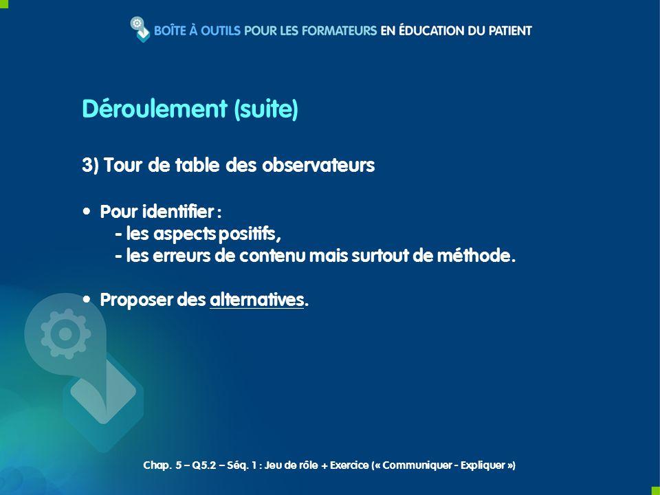 Déroulement (suite) 3) Tour de table des observateurs