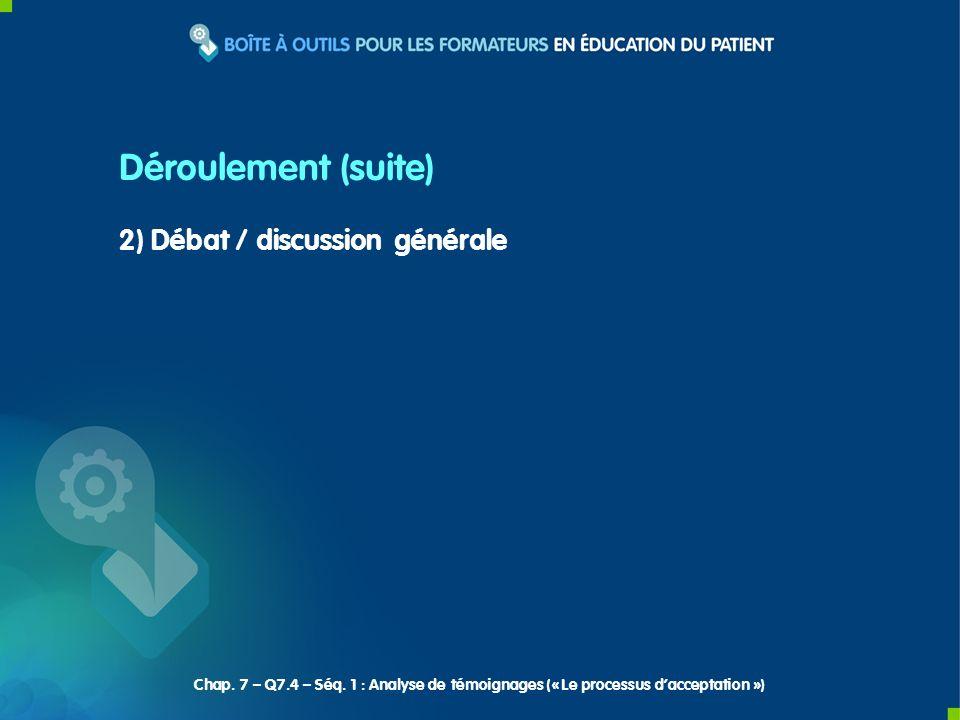 Déroulement (suite) 2) Débat / discussion générale