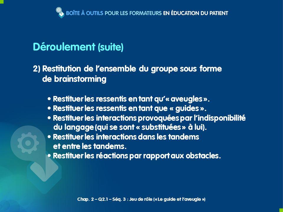 Déroulement (suite) 2) Restitution de l'ensemble du groupe sous forme