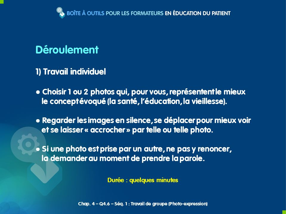 Chap. 4 – Q4.6 – Séq. 1 : Travail de groupe (Photo-expression)