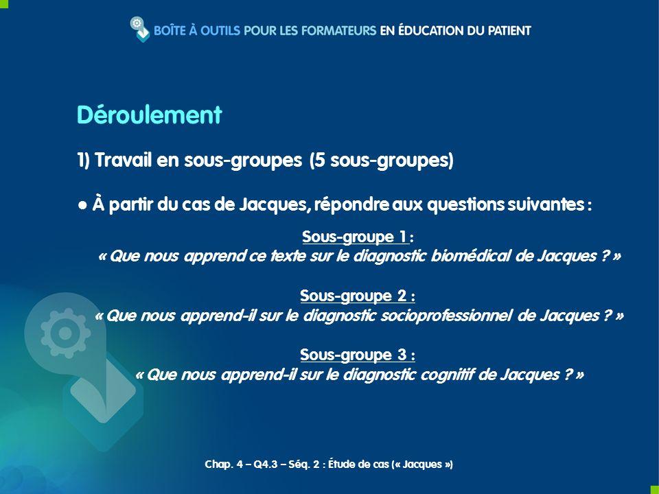 Déroulement 1) Travail en sous-groupes (5 sous-groupes)