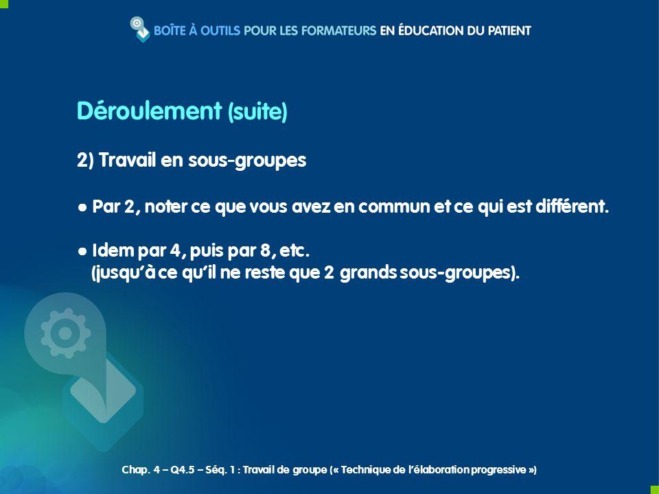 Déroulement (suite) 2) Travail en sous-groupes