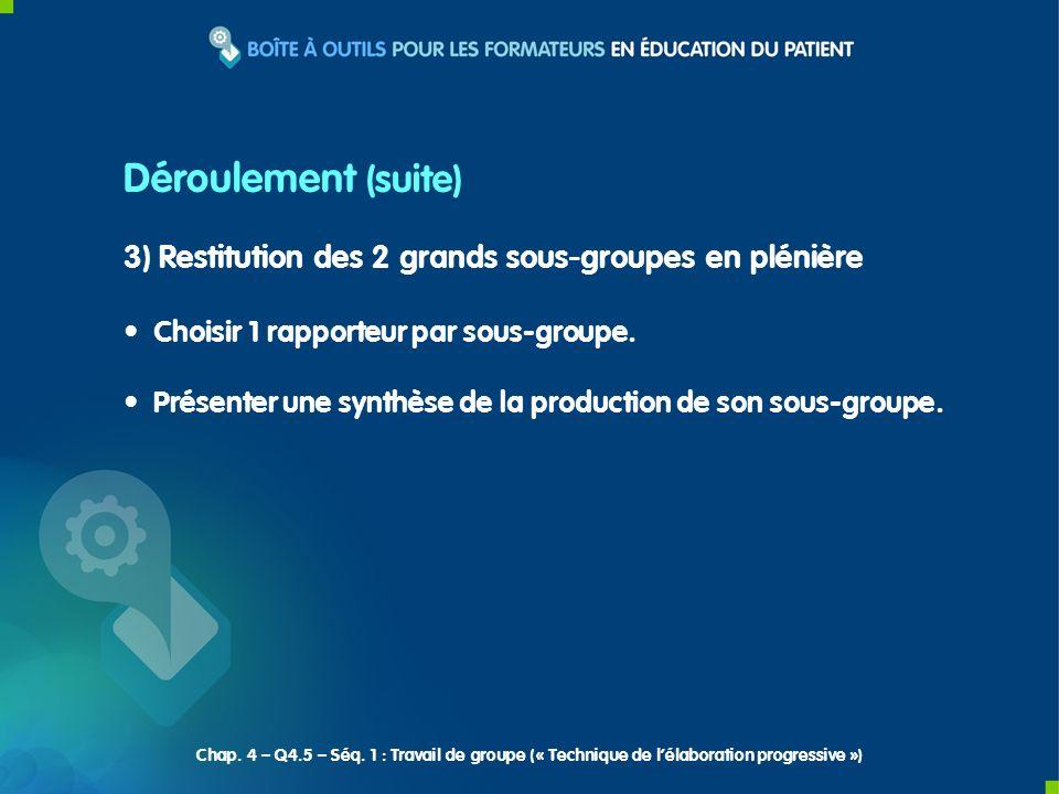 INPES Déroulement (suite) 3) Restitution des 2 grands sous-groupes en plénière. Choisir 1 rapporteur par sous-groupe.