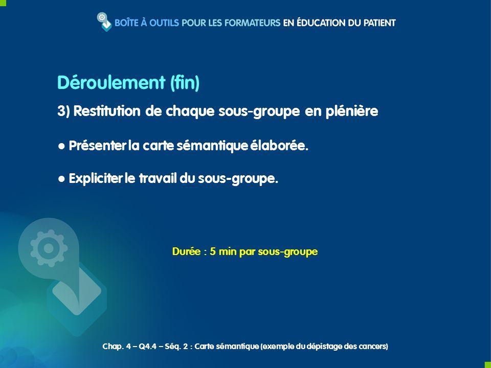 Déroulement (fin) 3) Restitution de chaque sous-groupe en plénière